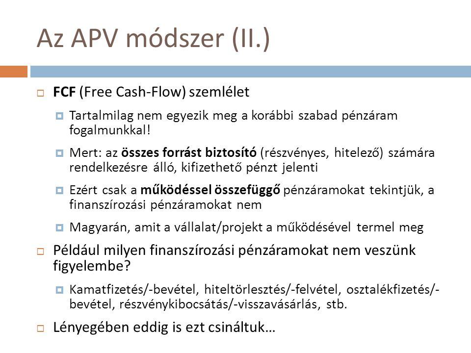 Az APV módszer (II.) FCF (Free Cash-Flow) szemlélet