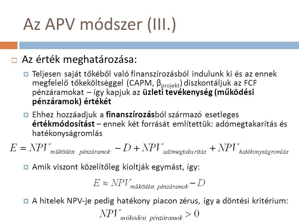 Az APV módszer (III.) Az érték meghatározása: