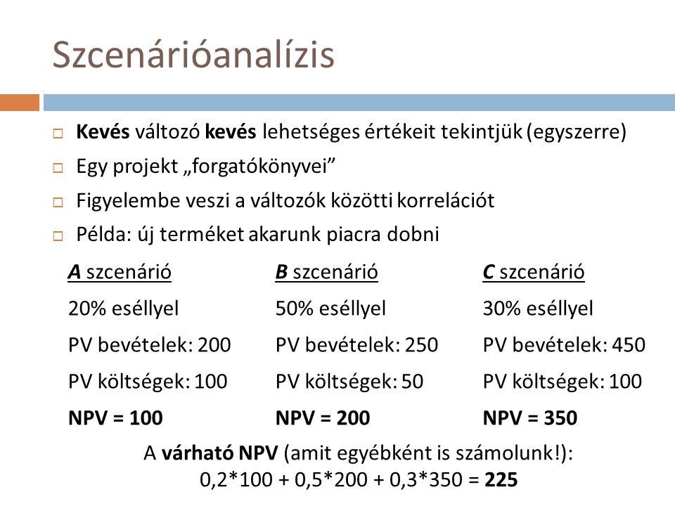"""Szcenárióanalízis Kevés változó kevés lehetséges értékeit tekintjük (egyszerre) Egy projekt """"forgatókönyvei"""