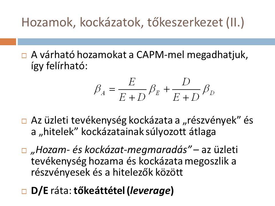 Hozamok, kockázatok, tőkeszerkezet (II.)