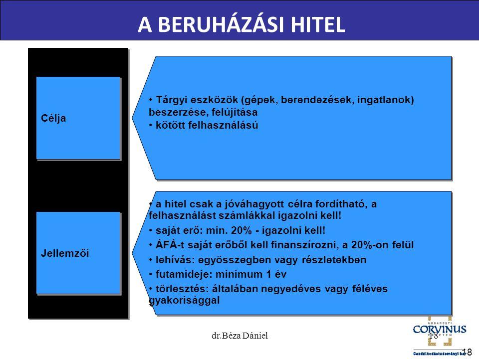 A BERUHÁZÁSI HITEL Célja. Tárgyi eszközök (gépek, berendezések, ingatlanok) beszerzése, felújítása.