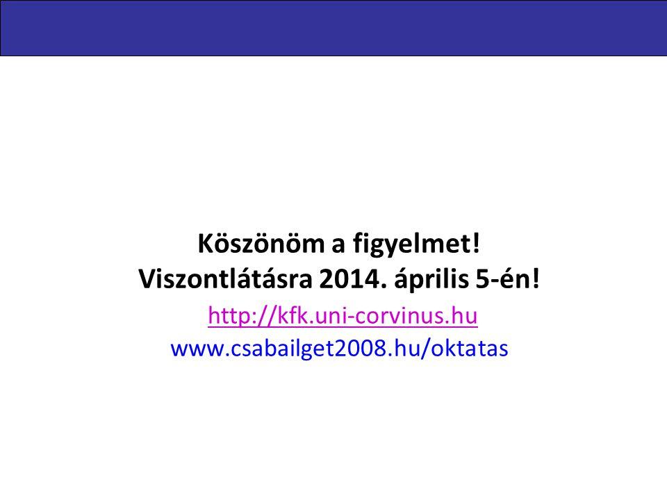 Levelezőképzés 2014.02.15. Köszönöm a figyelmet! Viszontlátásra 2014. április 5-én! http://kfk.uni-corvinus.hu www.csabailget2008.hu/oktatas.