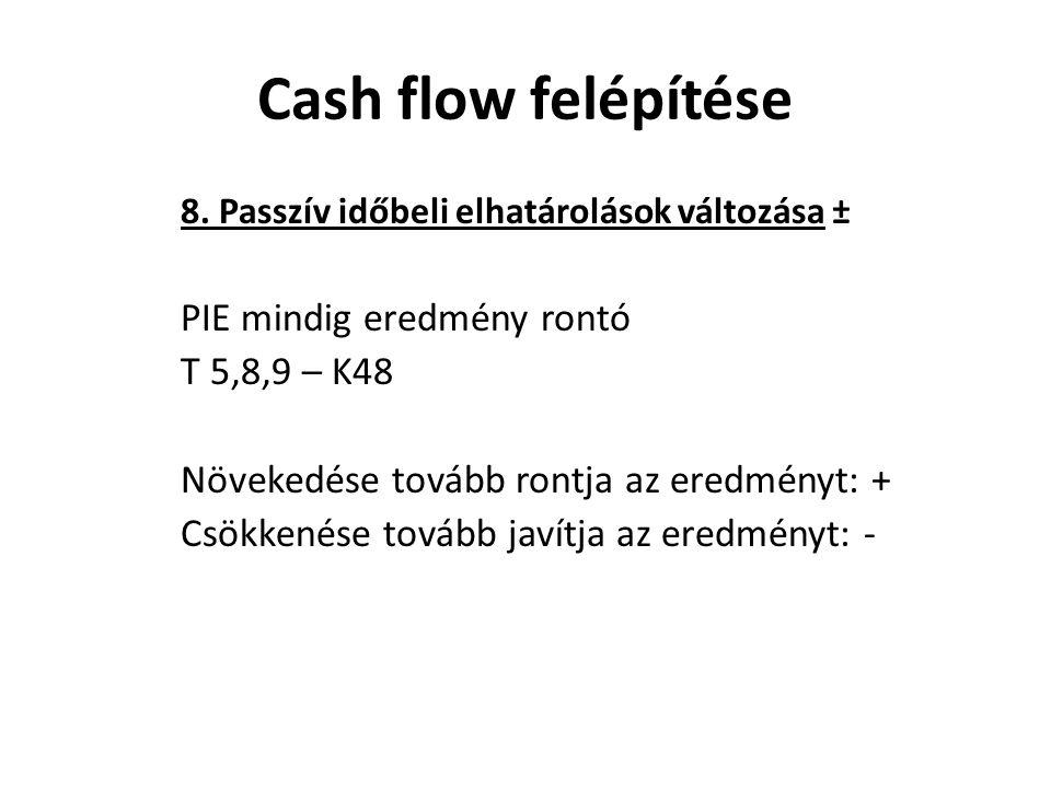 Cash flow felépítése PIE mindig eredmény rontó T 5,8,9 – K48