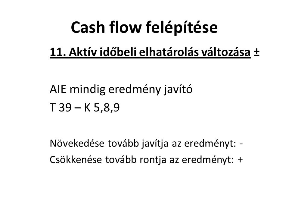 Cash flow felépítése 11. Aktív időbeli elhatárolás változása ±