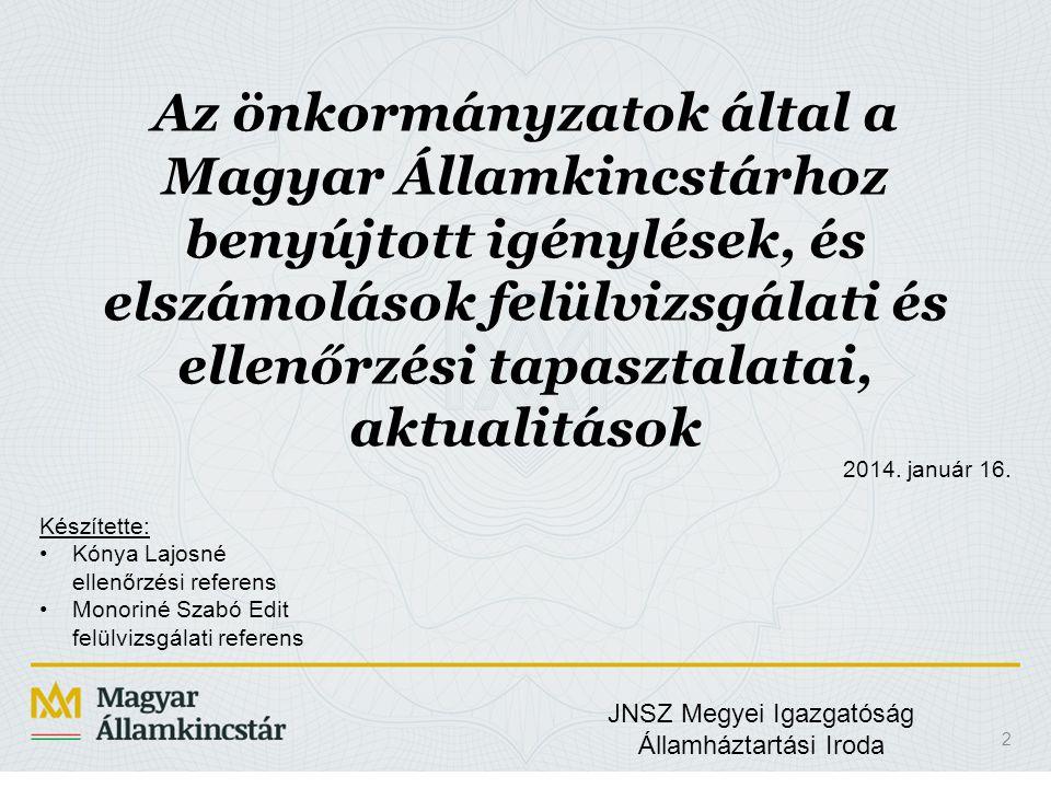Az önkormányzatok által a Magyar Államkincstárhoz benyújtott igénylések, és elszámolások felülvizsgálati és ellenőrzési tapasztalatai, aktualitások