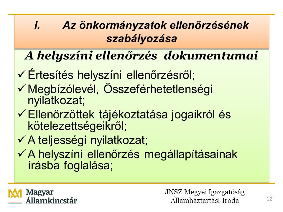 I. Az önkormányzatok ellenőrzésének szabályozása