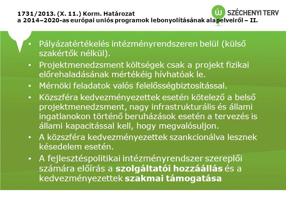 1731/2013. (X. 11.) Korm. Határozat a 2014–2020-as európai uniós programok lebonyolításának alapelveiről – II.