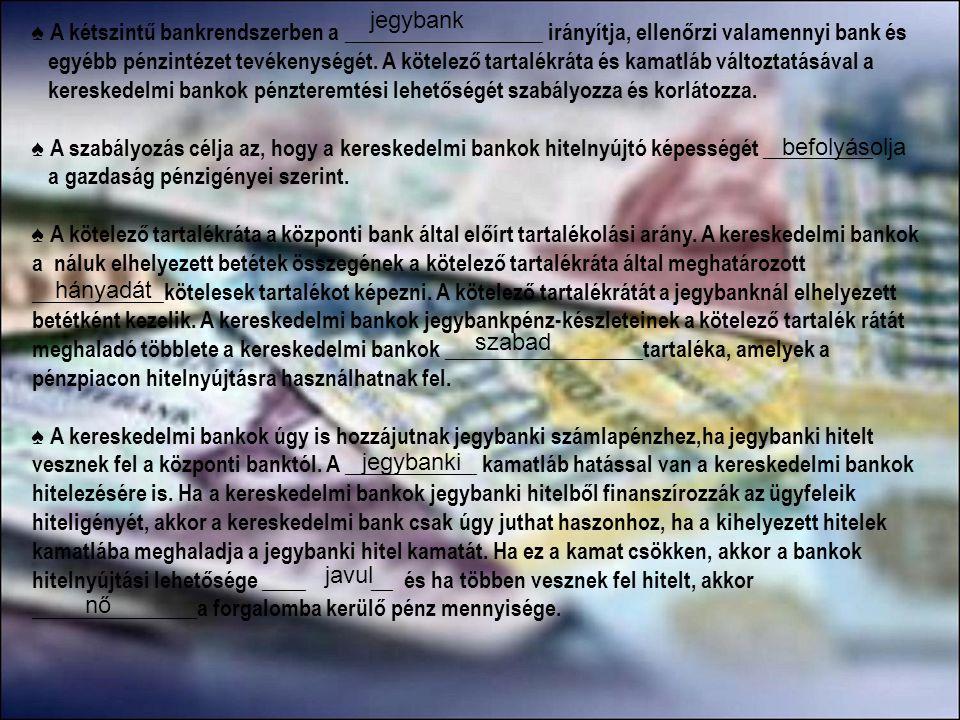 jegybank ♠ A kétszintű bankrendszerben a __________________ irányítja, ellenőrzi valamennyi bank és.