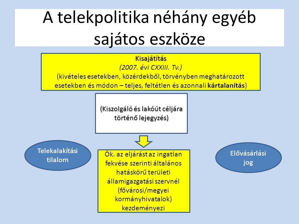 A telekpolitika néhány egyéb sajátos eszköze