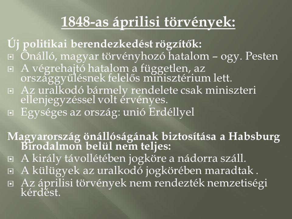 1848-as áprilisi törvények: