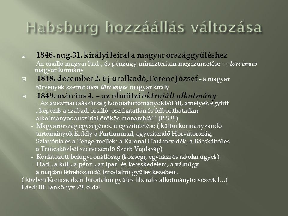 Habsburg hozzáállás változása
