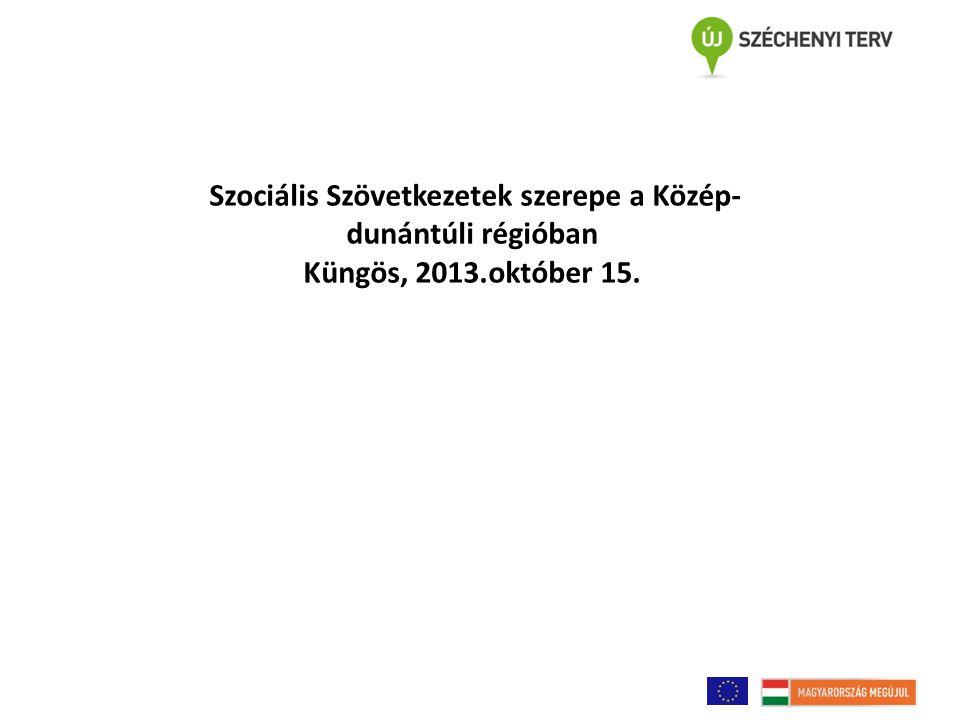 Szociális Szövetkezetek szerepe a Közép-dunántúli régióban Küngös, 2013.október 15.