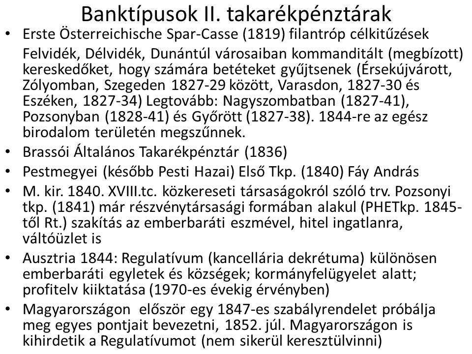 Banktípusok II. takarékpénztárak
