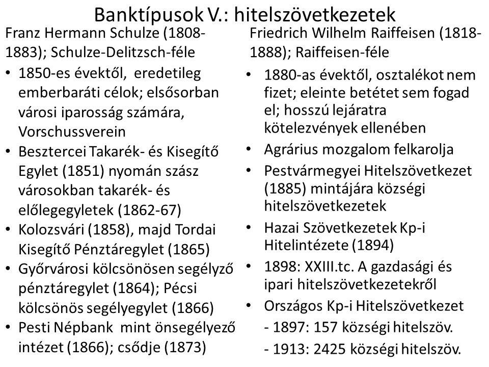 Banktípusok V.: hitelszövetkezetek