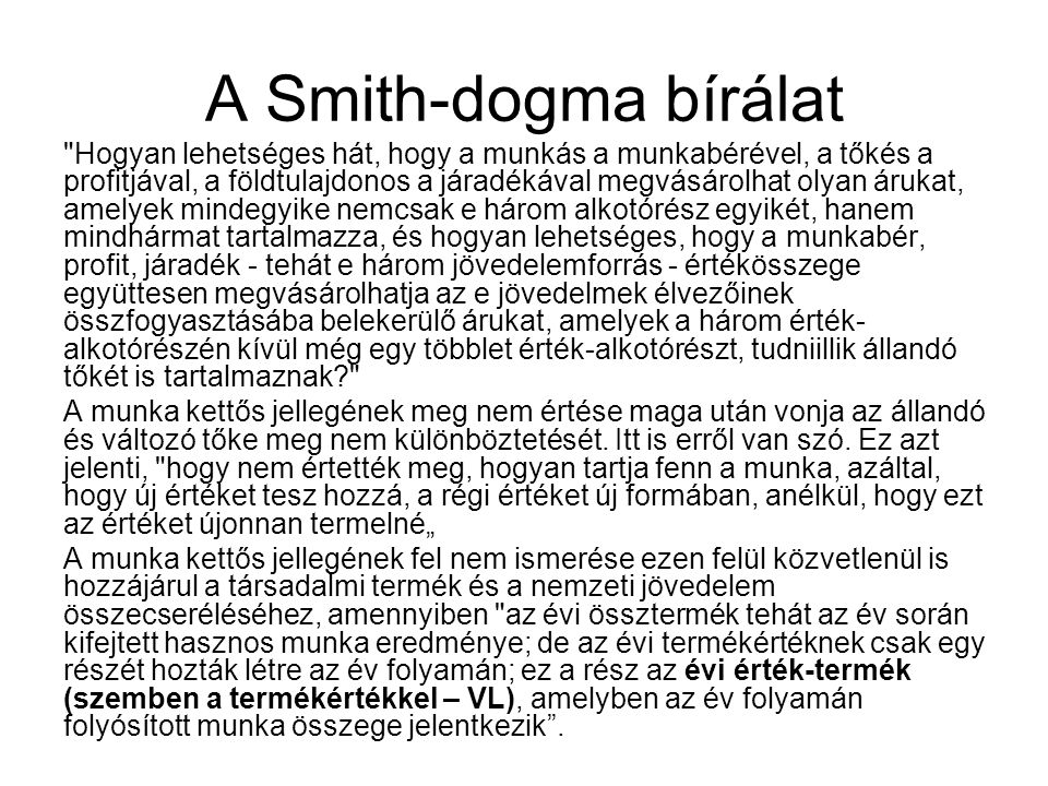 A Smith-dogma bírálat