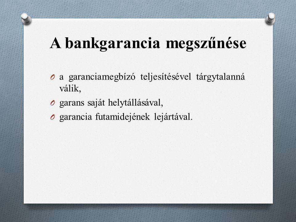 A bankgarancia megszűnése