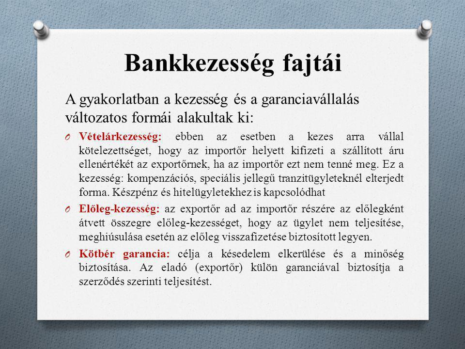 Bankkezesség fajtái A gyakorlatban a kezesség és a garanciavállalás változatos formái alakultak ki: