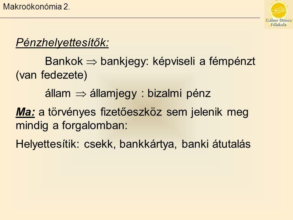 Bankok  bankjegy: képviseli a fémpénzt (van fedezete)
