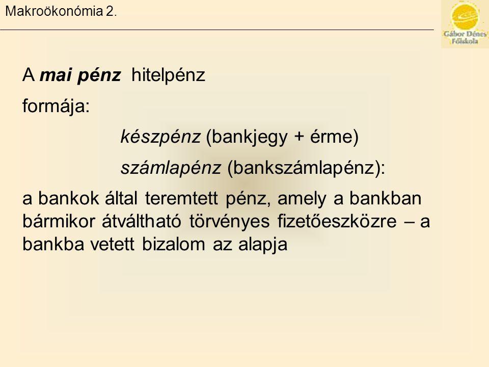 készpénz (bankjegy + érme) számlapénz (bankszámlapénz):