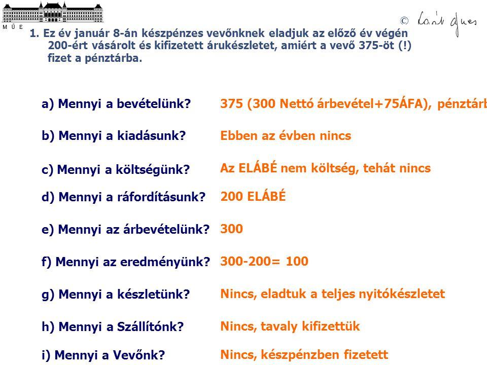 375 (300 Nettó árbevétel+75ÁFA), pénztárba