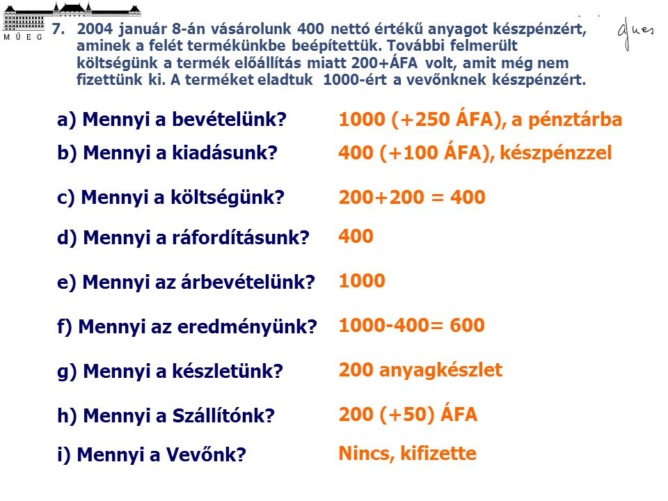 d) Mennyi a ráfordításunk 400
