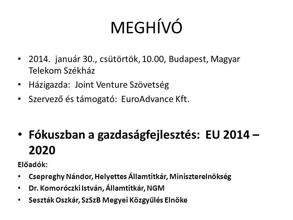 MEGHÍVÓ Fókuszban a gazdaságfejlesztés: EU 2014 – 2020