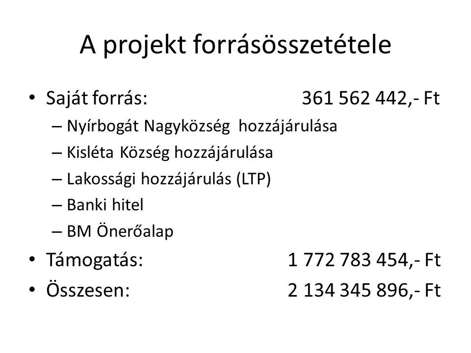 A projekt forrásösszetétele