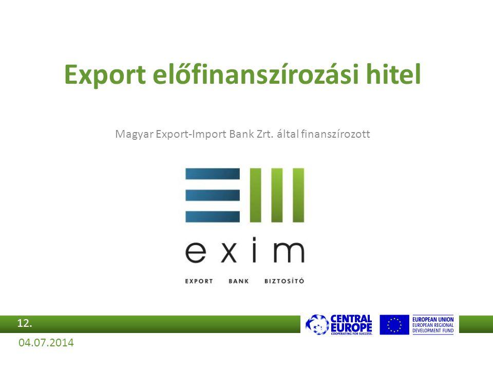 Export előfinanszírozási hitel