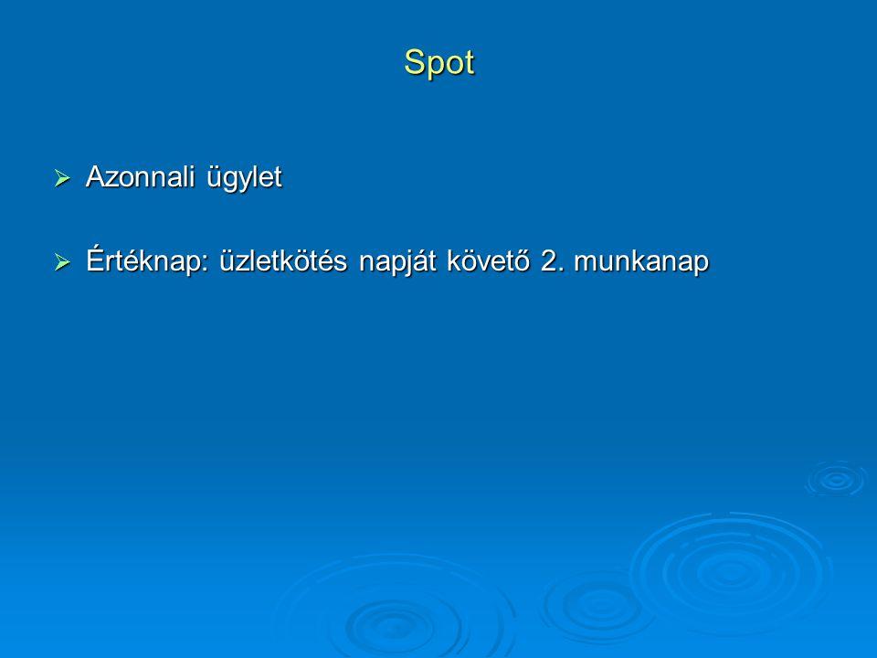 Spot Azonnali ügylet Értéknap: üzletkötés napját követő 2. munkanap