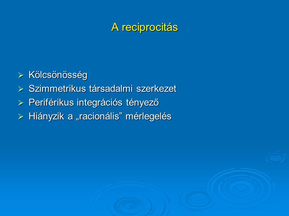 A reciprocitás Kölcsönösség Szimmetrikus társadalmi szerkezet