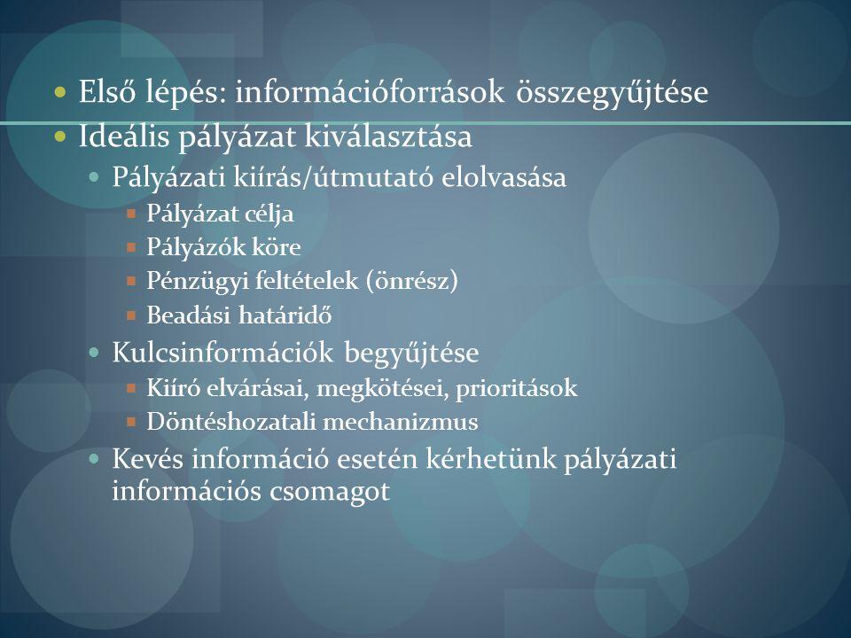 Első lépés: információforrások összegyűjtése