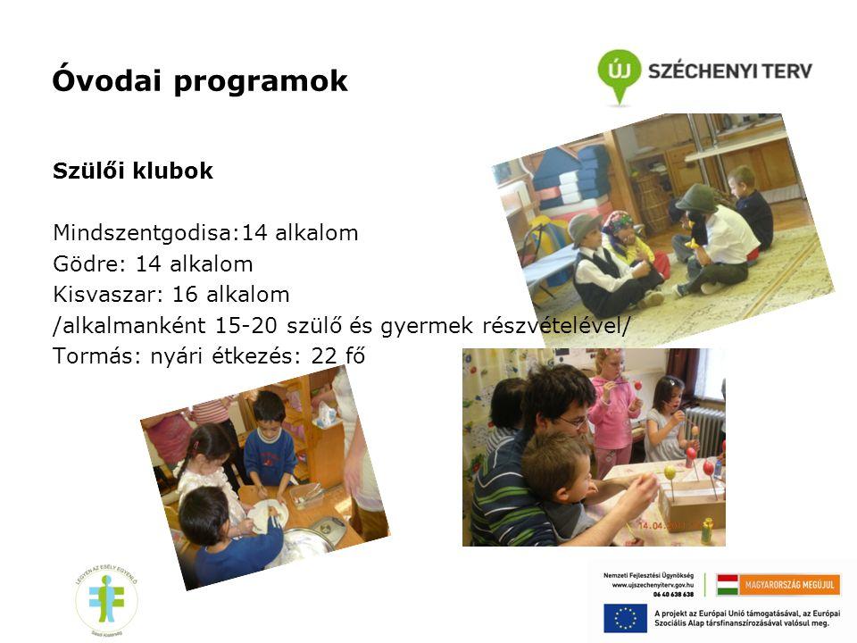 Óvodai programok Szülői klubok Mindszentgodisa:14 alkalom