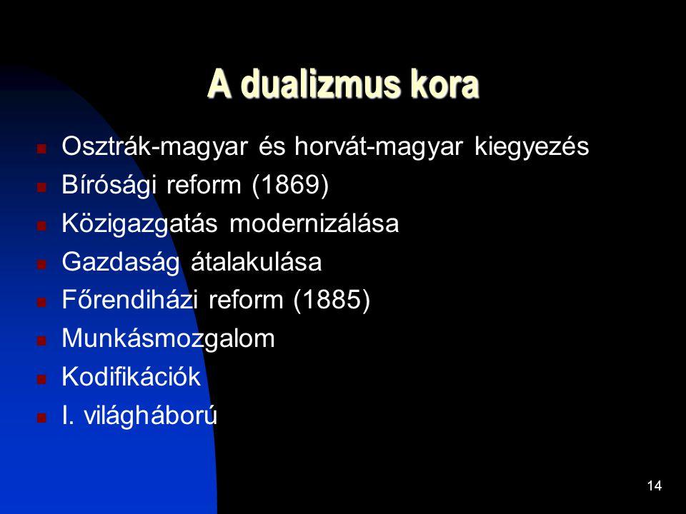 A dualizmus kora Osztrák-magyar és horvát-magyar kiegyezés