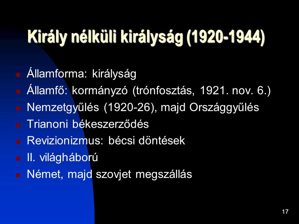 Király nélküli királyság (1920-1944)