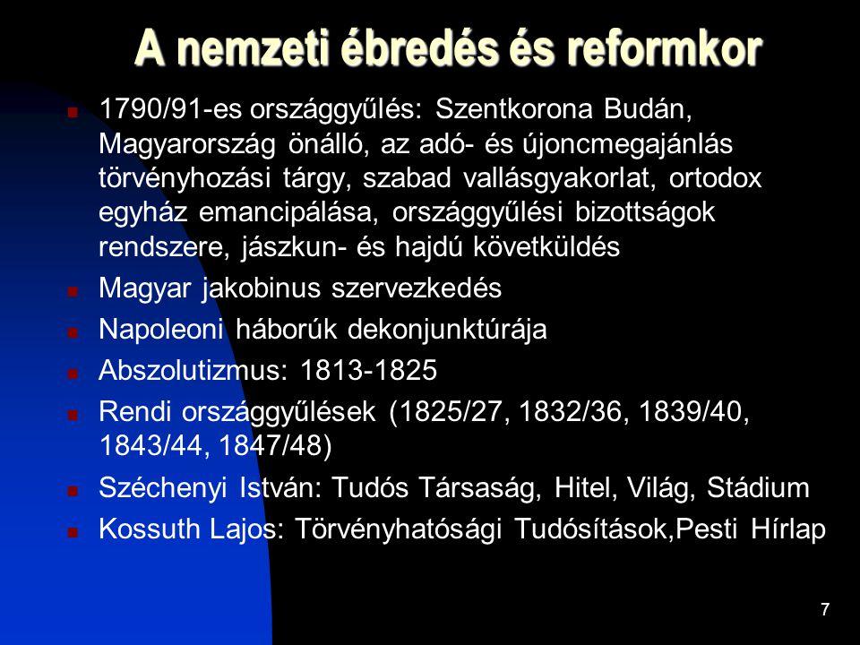 A nemzeti ébredés és reformkor