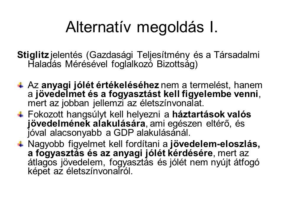 Alternatív megoldás I. Stiglitz jelentés (Gazdasági Teljesítmény és a Társadalmi Haladás Mérésével foglalkozó Bizottság)