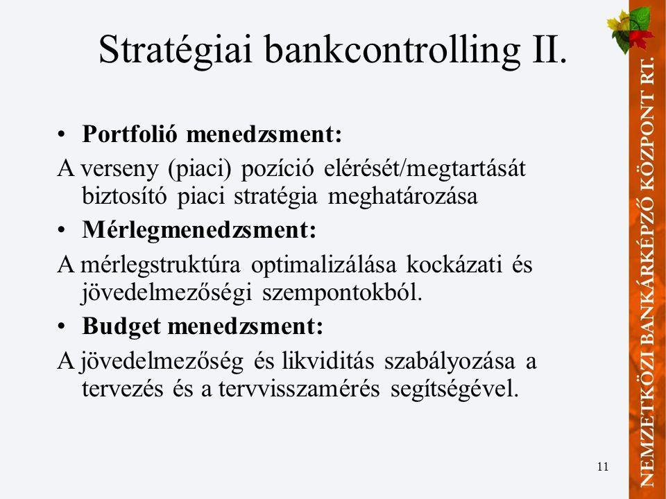 Stratégiai bankcontrolling II.