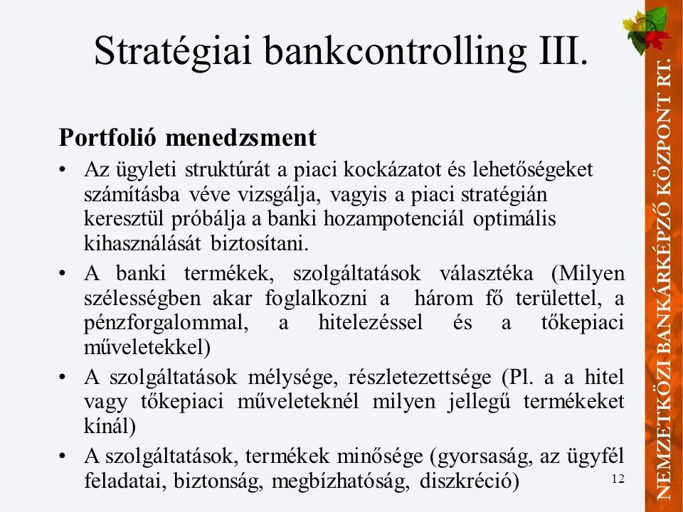 Stratégiai bankcontrolling III.