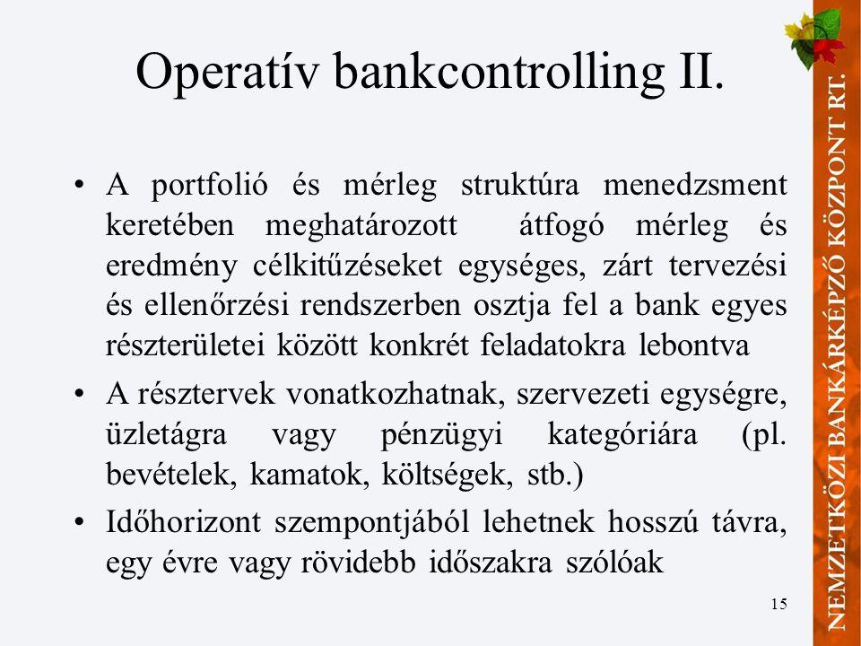 Operatív bankcontrolling II.