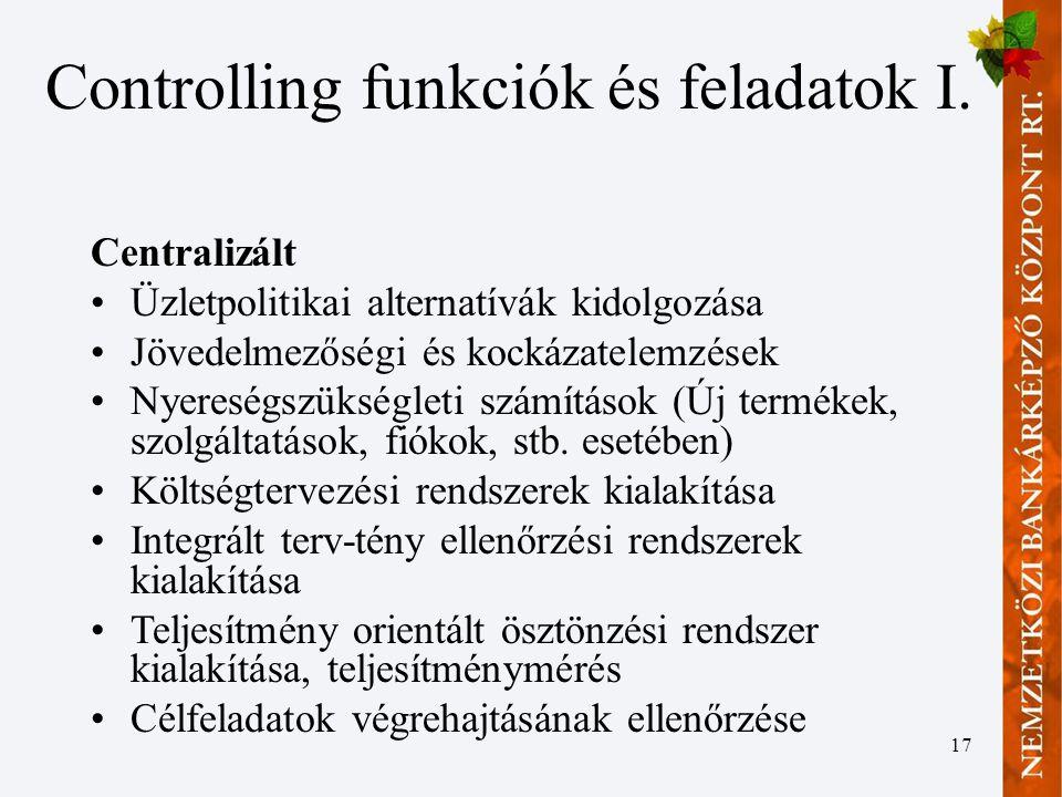 Controlling funkciók és feladatok I.