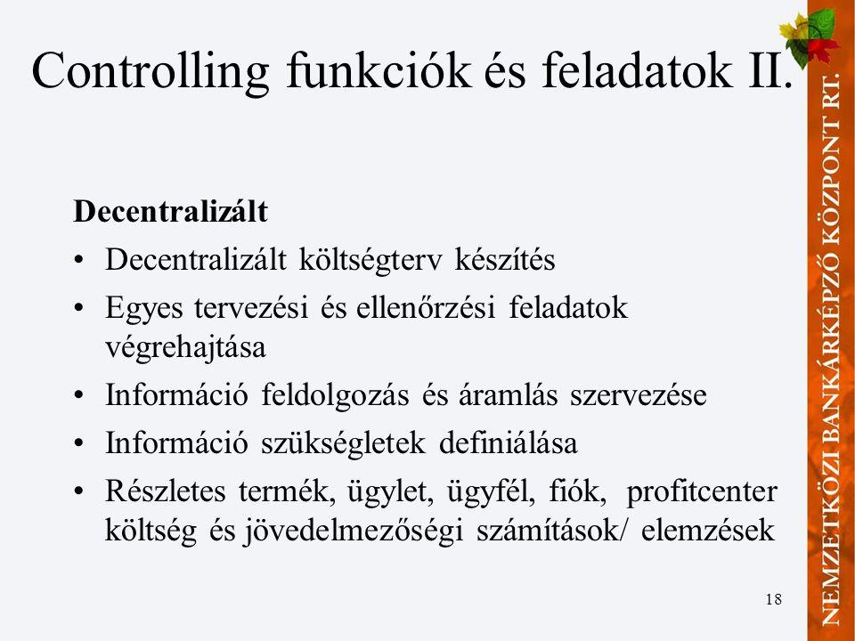 Controlling funkciók és feladatok II.