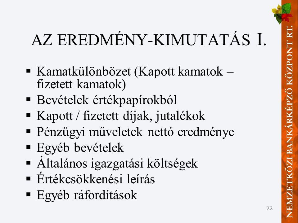 AZ EREDMÉNY-KIMUTATÁS I.