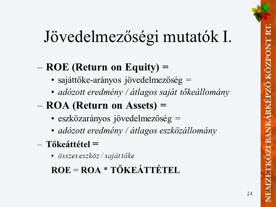 Jövedelmezőségi mutatók I.