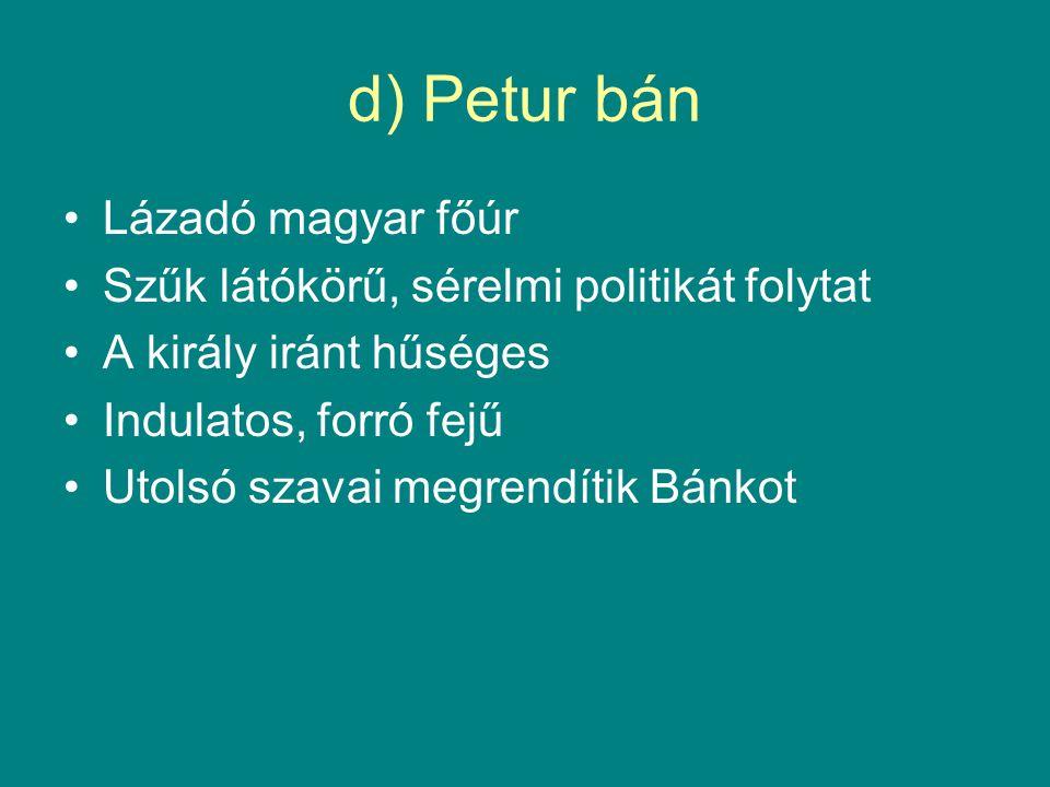 d) Petur bán Lázadó magyar főúr