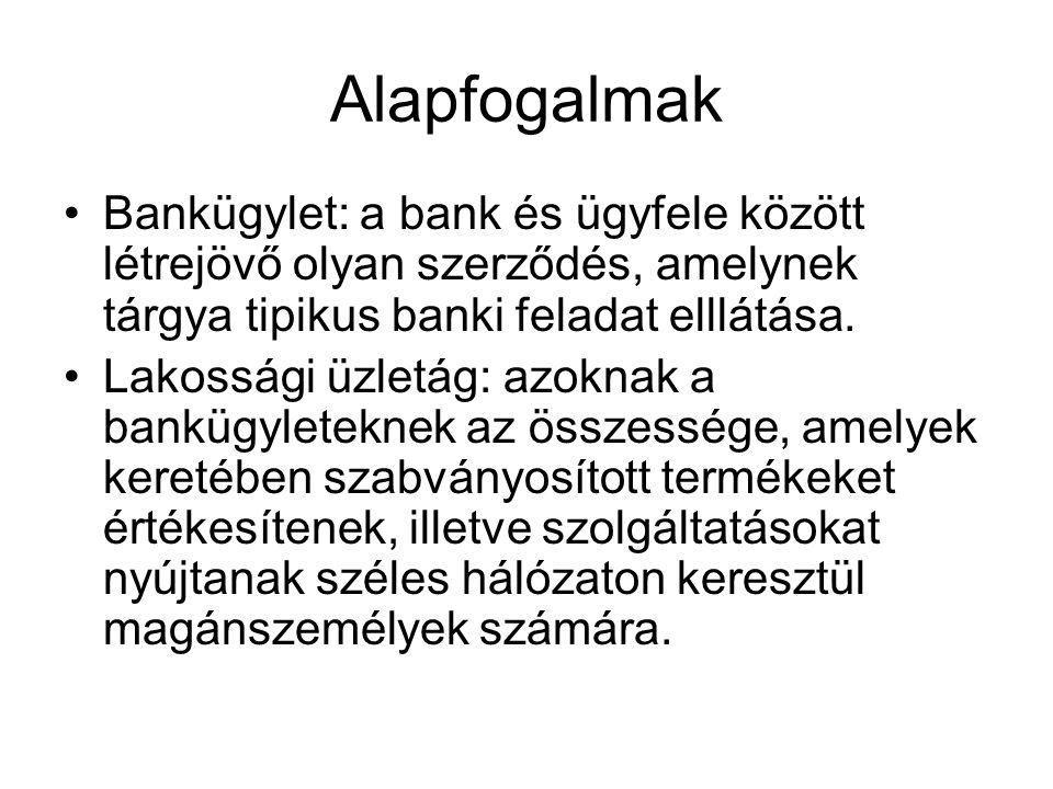 Alapfogalmak Bankügylet: a bank és ügyfele között létrejövő olyan szerződés, amelynek tárgya tipikus banki feladat elllátása.