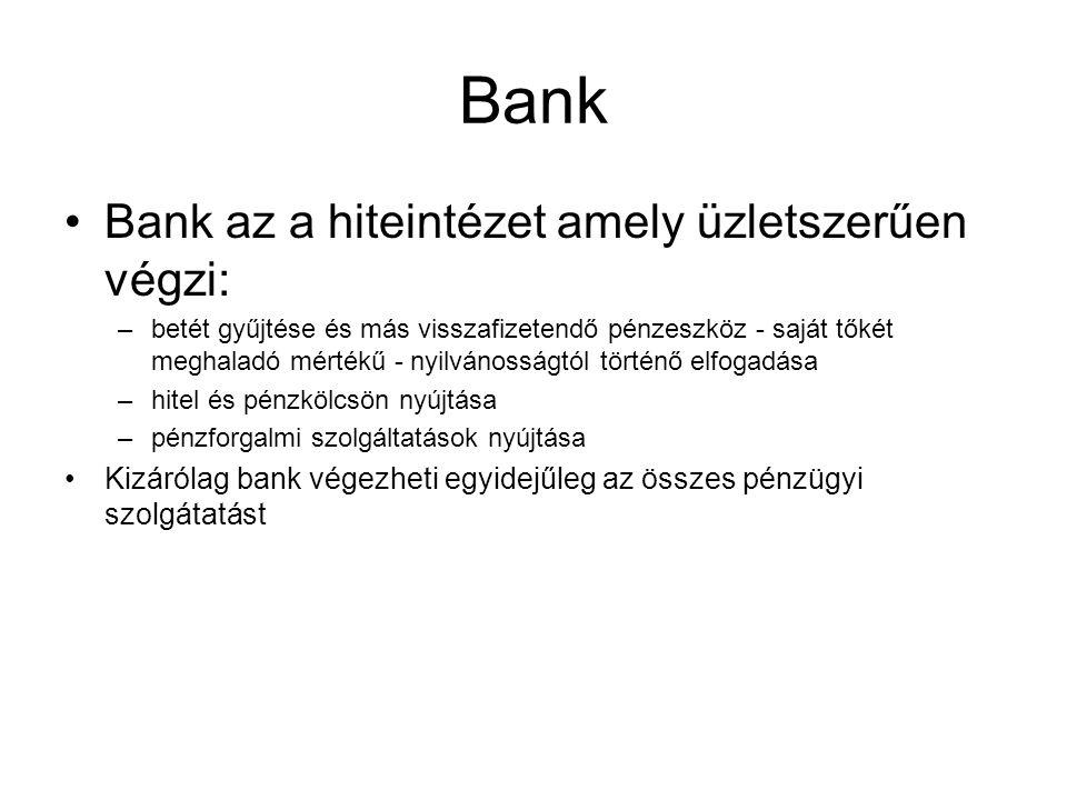 Bank Bank az a hiteintézet amely üzletszerűen végzi: