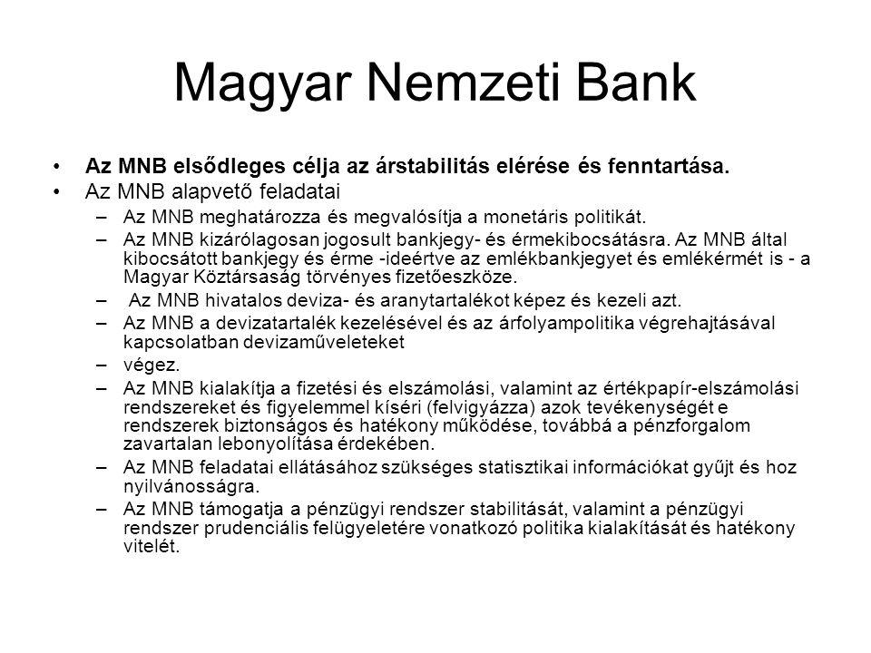 Magyar Nemzeti Bank Az MNB elsődleges célja az árstabilitás elérése és fenntartása. Az MNB alapvető feladatai.
