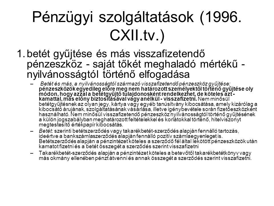 Pénzügyi szolgáltatások (1996. CXII.tv.)