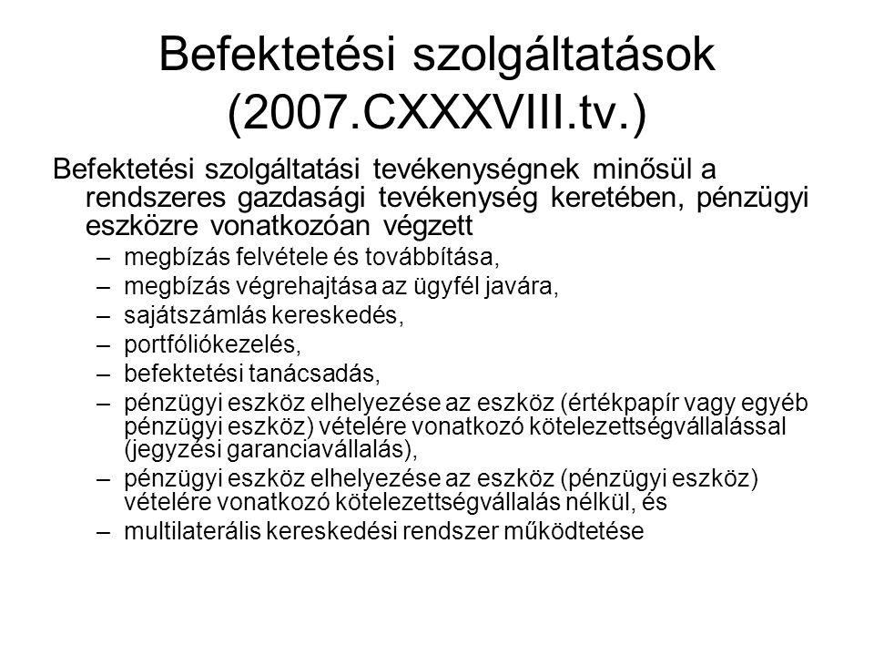 Befektetési szolgáltatások (2007.CXXXVIII.tv.)