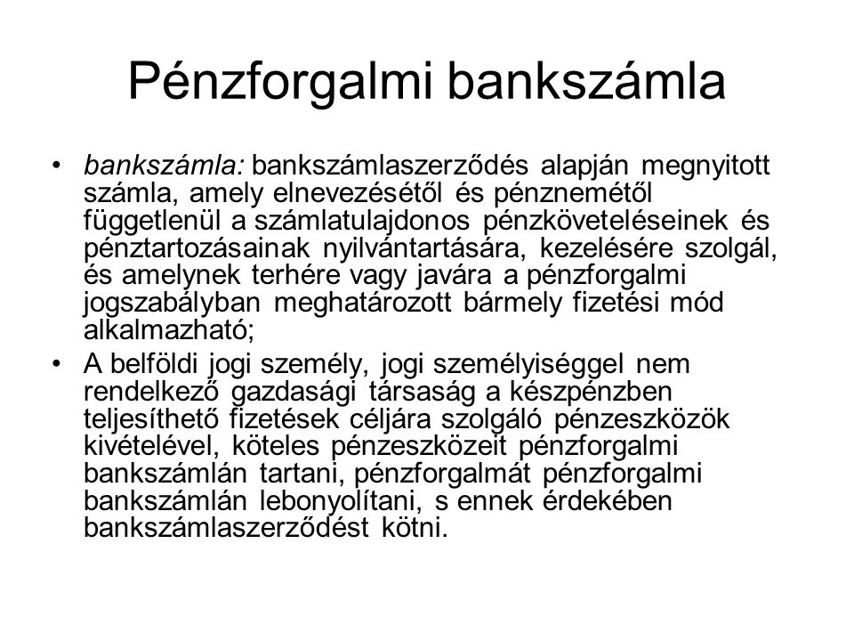 Pénzforgalmi bankszámla